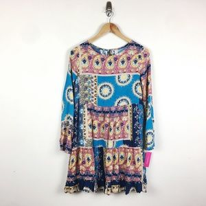 Xhilaration Blue Patchwork Boho Babydoll Dress
